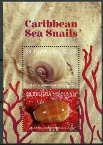 Bequia Grenadines St Vincent 2019 MNH Caribbean Sea Snails 2v S/S Marine Stamps