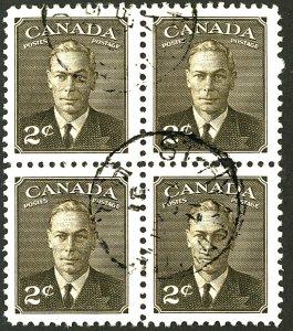 CANADA #285 USED BLOCK OF 4