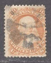 UNITED STATES Stamp # 100 - 30c Franklin - 1867 - Used + Certificate