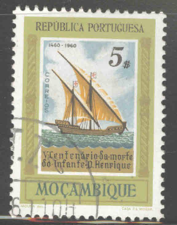 Mozambique Scott 405 Used Sail ship stamp