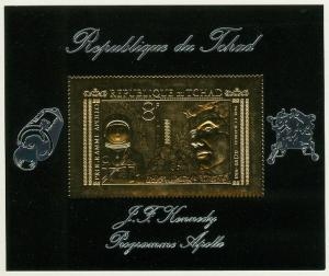 EDW1949SELL : CHAD Gold Foil Souvenir Sheet of JFK & Space Topical.
