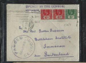 CEYLON (P0808BB) 1918  KGV 3C+6CX2 PASSED BY CENSOR TO SWITZERLAND