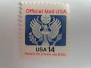 SCOTT # O129A 14 CENT OFFICIAL MAIL USA MINT NEVER HINGED