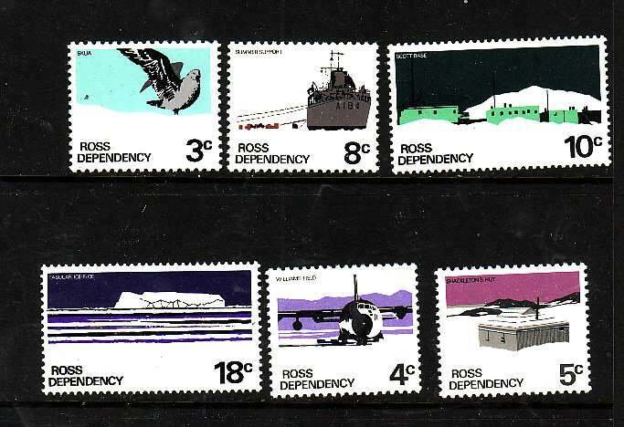 Ross Dependency-Sc#L9-14- id8-unused NH set-Ships,Planes-Scott base-1972-