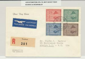 LIECHTENSTEIN 1953 SCOUT SET ON FIRST DAY COVER, SCARCE  (SEE BELOW)