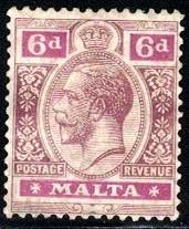 King George V, Malta stamp SC#58 Mint