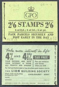 F61 2/6 Booklet Dec 1957 2d pane Inverted