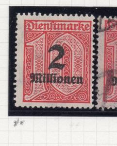 Germany Officials 1923 August Fine Mint Hinged 2Million. Surcharged 244642