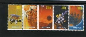 Naxcivan Republic 1997 SPACE Strip (5) Perforated Mint (NH)