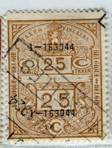 BELGIUM; Early 1900s fine used TAXES FISCALES Revenue issue used value, 25c