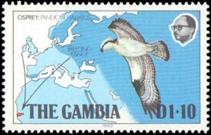 Gambia #485-488, Complete Set(4), 1983, Birds, Maps, Never Hinged