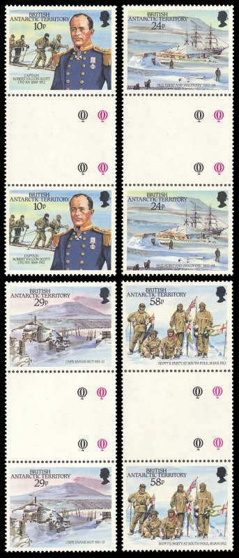 British Antarctic Territory 1987 Scott #137-140 Gutter Pairs Mint Never Hinged