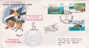 Cocos Islands # 111-113, Barrel Mail 75th Anniversary 1st Day Cover