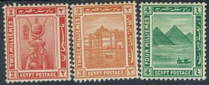 EGYPT 1921 PICTORIAL 2M 3M AND 4M WMK MULTI STAR CRESCENT