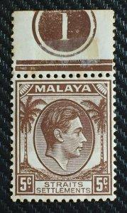 Malaya Straits Settlements 1937 KGVI 5c Die I MNH Margin Plate 1 SG#281 M3200