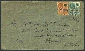 MONTSERRAT 1924 ½d & 1½d War Tax on cover to USA...........................94772
