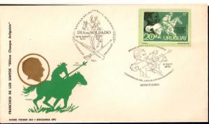 URY-137 URUGUAY 1973 MILITARIA  BATTLE SOLDIER OLD FDC WITH SPECIAL POSTMARK