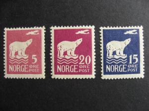 NORWAY 106, 108, 109 3 nice MH stamps here, see the pictures!