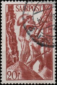 SARRE / SAARLAND - 1949 SAARBRÜCKEN 2 date stamp on Mi.250 20fr coal workers