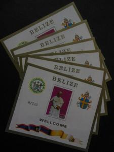 BELIZE : 1983. Scott #667 Pope's Visit. 6 S/S. Very Fine, Mint NH. Catalog $225.