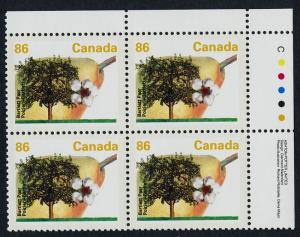 Canada 1372 TR Plate Block MNH Fruit, Flower, Bartlett Pear