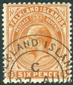 FALKLAND ISLANDS-1919 6d Brown-Orange.  A fine used example Sg 64b
