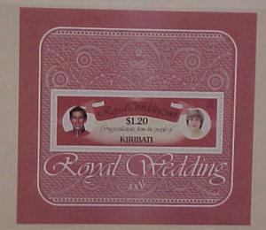 KIRIBATI ROYAL WEDDING  PRINCESS DIANA  SOUVENIR SHEETLET MINT NH