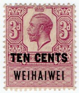 (I.B) Wei Hai Wei (China Treaty Port) Revenue : Duty Stamp 10c on 3d OP