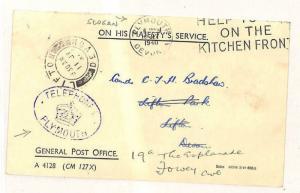 W13 1940 GB Devon *TELEPHONES PLYMOUTH*Official GPO Card SLOGAN{samwells-covers}