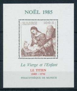 [98457] Zaire 1985 Christmas Weihnachten Noël Painting Tizian Sheet MNH