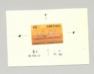 Grenada #1524 SS Oceanic, Luxury Liner, Sailing Ship, 1v. imperf chromalin proof