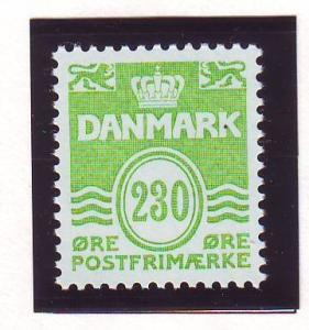 Denmark Sc 694 1984 230 ore bright yellow green wavy lines stamp mint NH