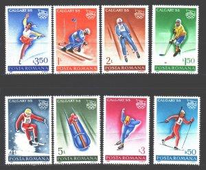 Romania. 1987. 4418-25. Calgary winter olympic games, sports. MNH.