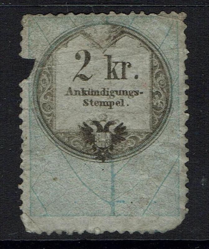 Austria 2kr advertisement rev stamp mixed cond, see notes - Lot 052117