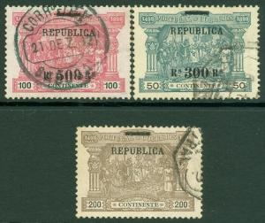 EDW1949SELL : PORTUGAL 1911 Scott #196-98 Very Fine, Used. Catalog $134.00.