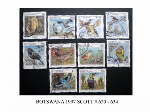 BOTSWANA 1997 SCOTT # 620 - 634. USED. TOPIC: BIRDS