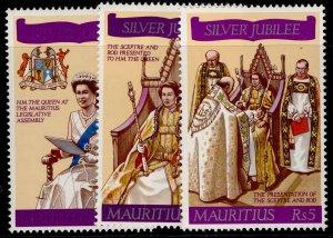 MAURITIUS QEII SG516-518, 1977 silver jubilee set, NH MINT.