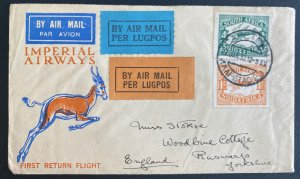 1932 Capetown South Africa Flight Flight Airmail Cover to England Imperial Airwa