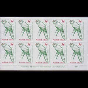 NORFOLK IS. 2000 - Scott# 719a Green Parrot BP Set of 10 NH