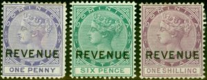 Dominica 1879 Revenue Set of 3 SGR1-R3 Good Mtd Mint