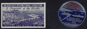1939 - 2 Diff. Golden Gate International Exposition Cinderella Poster Stamps MNH