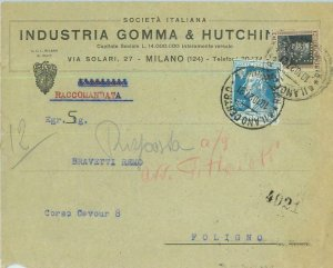93185 - ITALY - POSTAL HISTORY - PERFIN stamp on COVER: HUTCHINSON  Tyres 1927