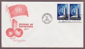 UN # 148 , UN Headquarters & Emblem Pair on Artmaster FDC - I Combine S/H