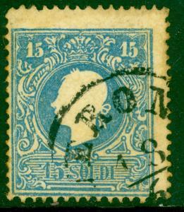 LOMBARDY VENETIA 1858-62 15s Blue Type II FRANZ JOSEPH Sc 12 VFU