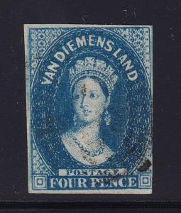 Tasmania SG # 17 F-VF deep blue used neat cancel with nice color ! see pic !