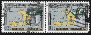 Haiti SC 637 - Horizontal Pair - Map & Hydroelectric Dam - Used -1970