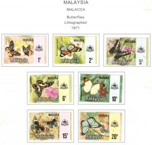Malaysia Malacca Scott 74-80 MH* Butterfly stamp set