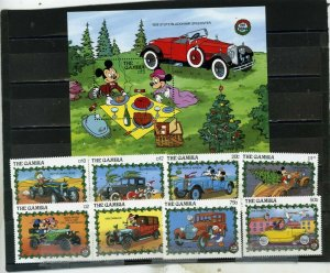 GAMBIA 1989 DISNEY CHRISTMAS/CLASSIC CARS SET OF 8 STAMPS & S/S MNH