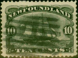 Newfoundland 1887 10c Black SG54 Average Used