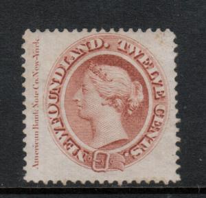 Newfoundland #28a Very Fine Mint Imprint Copy Full Original Gum Lightly Hinged